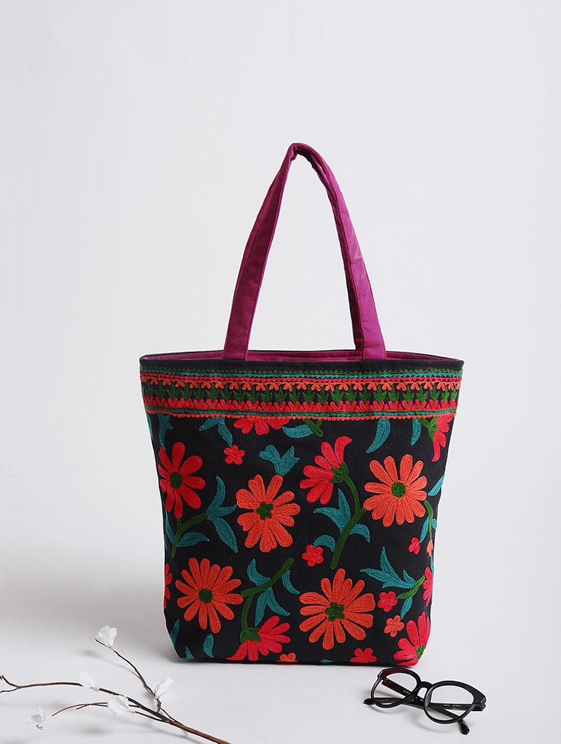 Navy Blue-Black Thread-Embroidered Cotton Tote