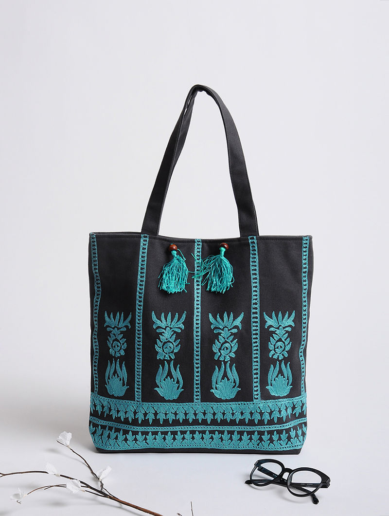 Grey-Blue Assamese Thread-Embroidered Cotton Tote