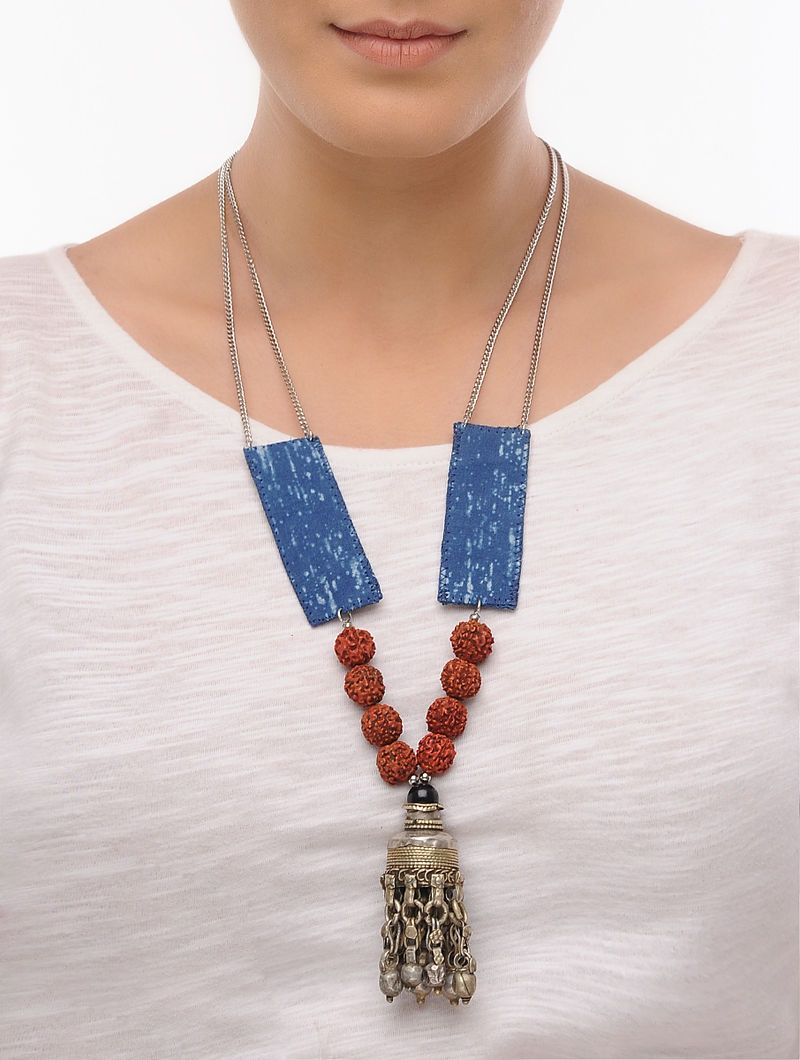 Blue Fabric Beaded Tribal Necklace