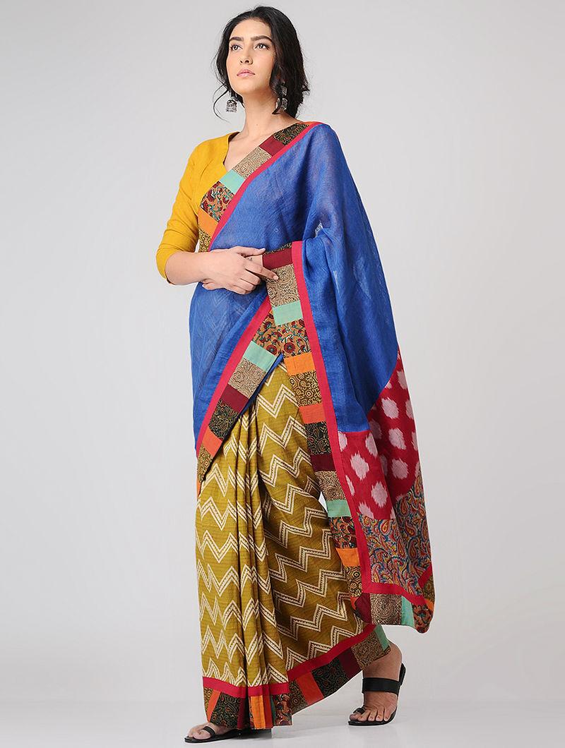 Blue-Ochre Block-printed Constructed Cotton Saree with Linen Pallu