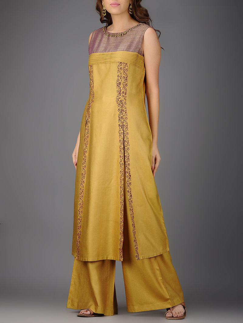 Mustard-Mauve Printed Pleated Cotton Silk Kurta