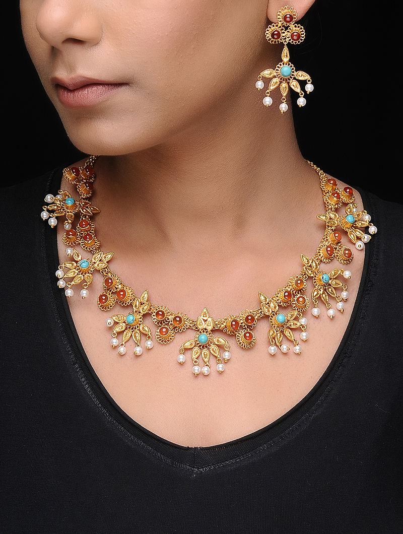 Blue-Yellow Gold Tone Copper Necklace with a Pair of Earrings (Set of 2)