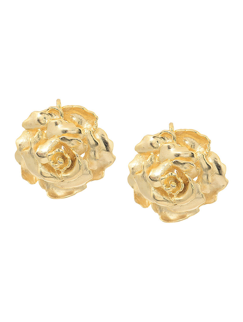 Gold Tone Earrings with Rose Design