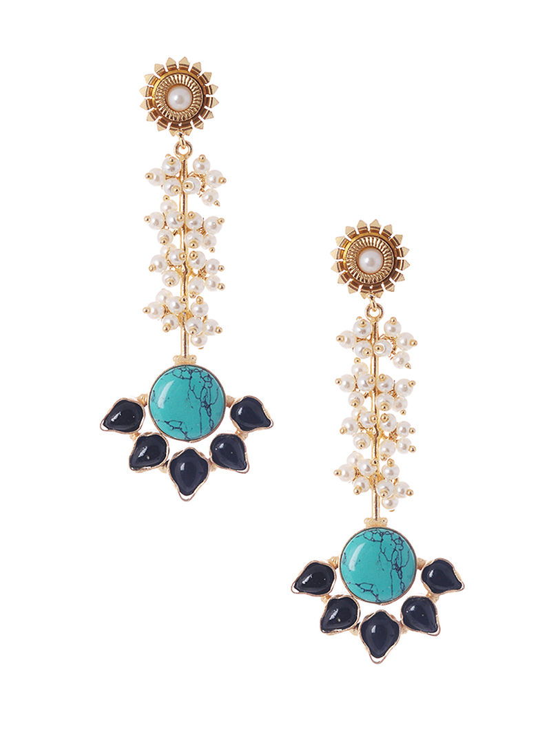 Turquoise-Black Gold Tone Beaded Earrings