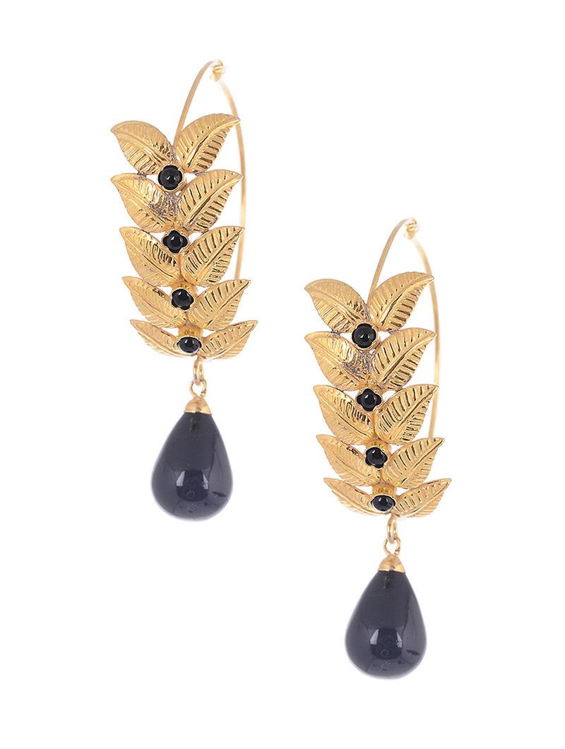 Black Gold Tone Beaded Earrings