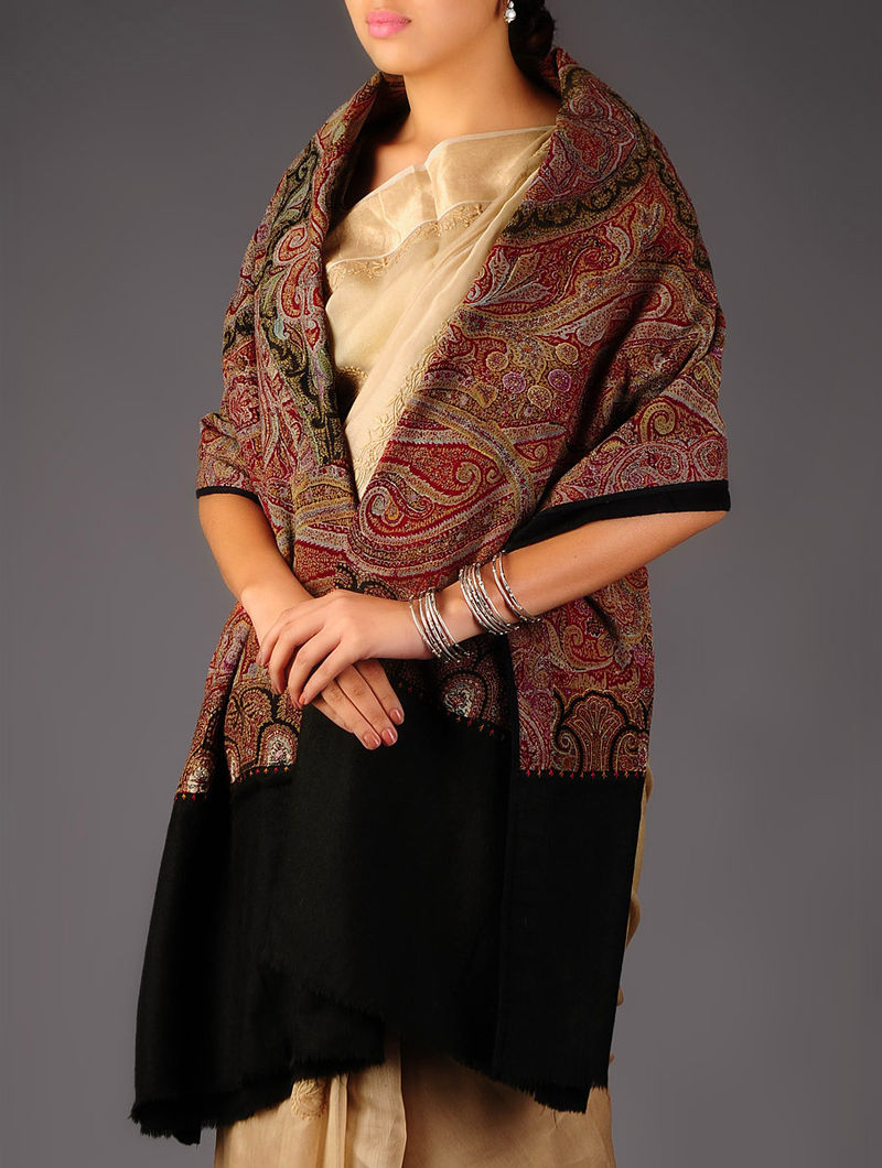 Intricate Kashmir 1860s All-over Hand Woven Jamawar Pashmina Shawl by Aditi Collection