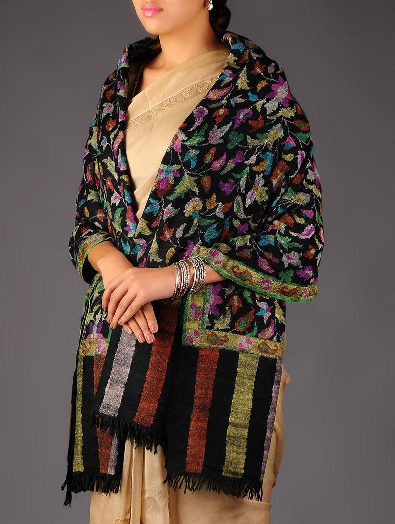 Pashmina Dorukha Kani Hand Woven Floral Shawl by Aditi Collection
