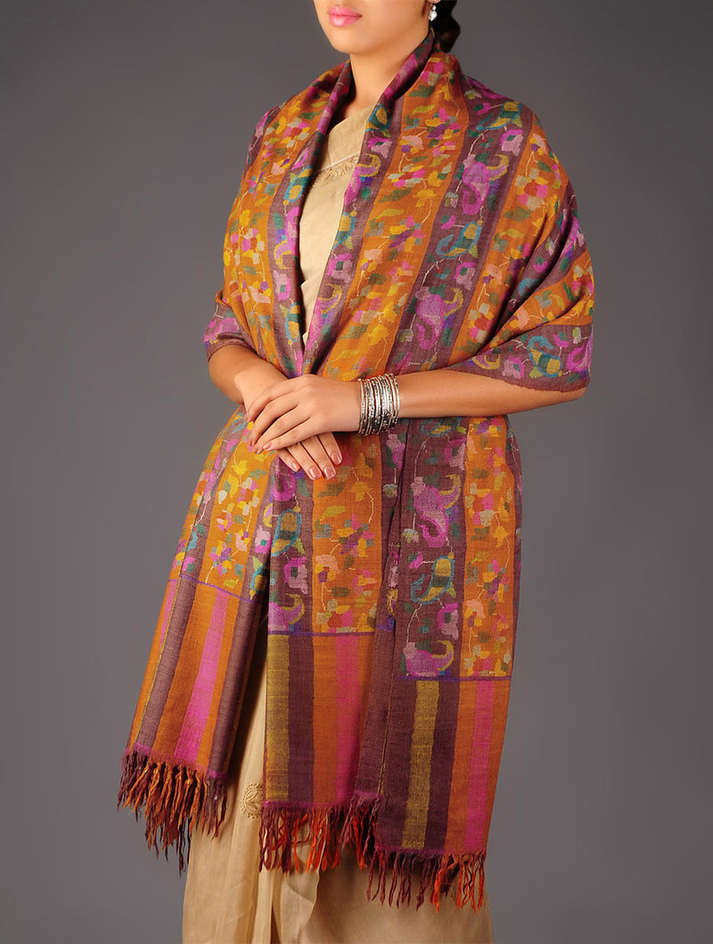 Pashmina Dorukha Kani Superfine Hand Woven Striped Floral Shawl by Aditi Collection