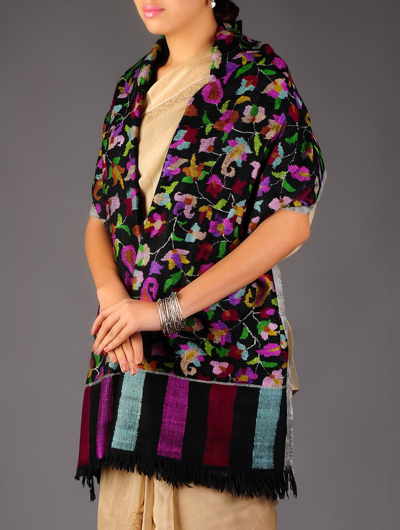 Pashmina Dorukha Kani Hand Woven All-over Floral Stole by Aditi Collection