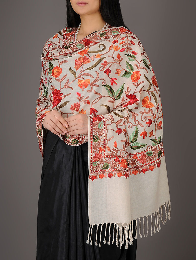 c523147163 Light Beige Kashmiri Fine All-over Chain Stitch Embroidery Floral Jaal  Merino Wool Stole