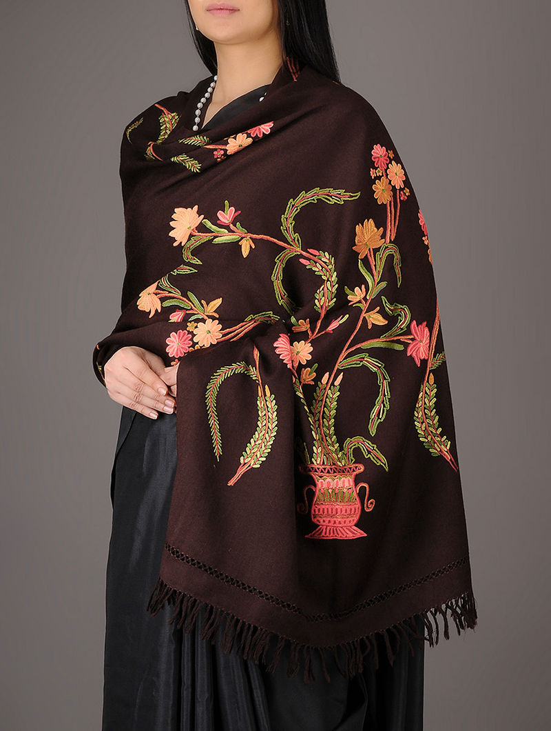 1c1c7320f8 Coffee Color Kashmiri Superb Aari Hand Embroidered Floral Vase Design  Merino Stole