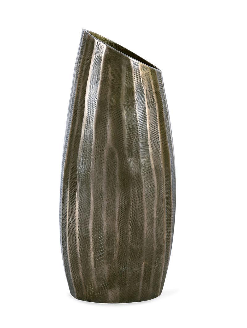 Aluminium Vase with Brass Finish (H:12.4in, Dia:3in, W:5.3in)