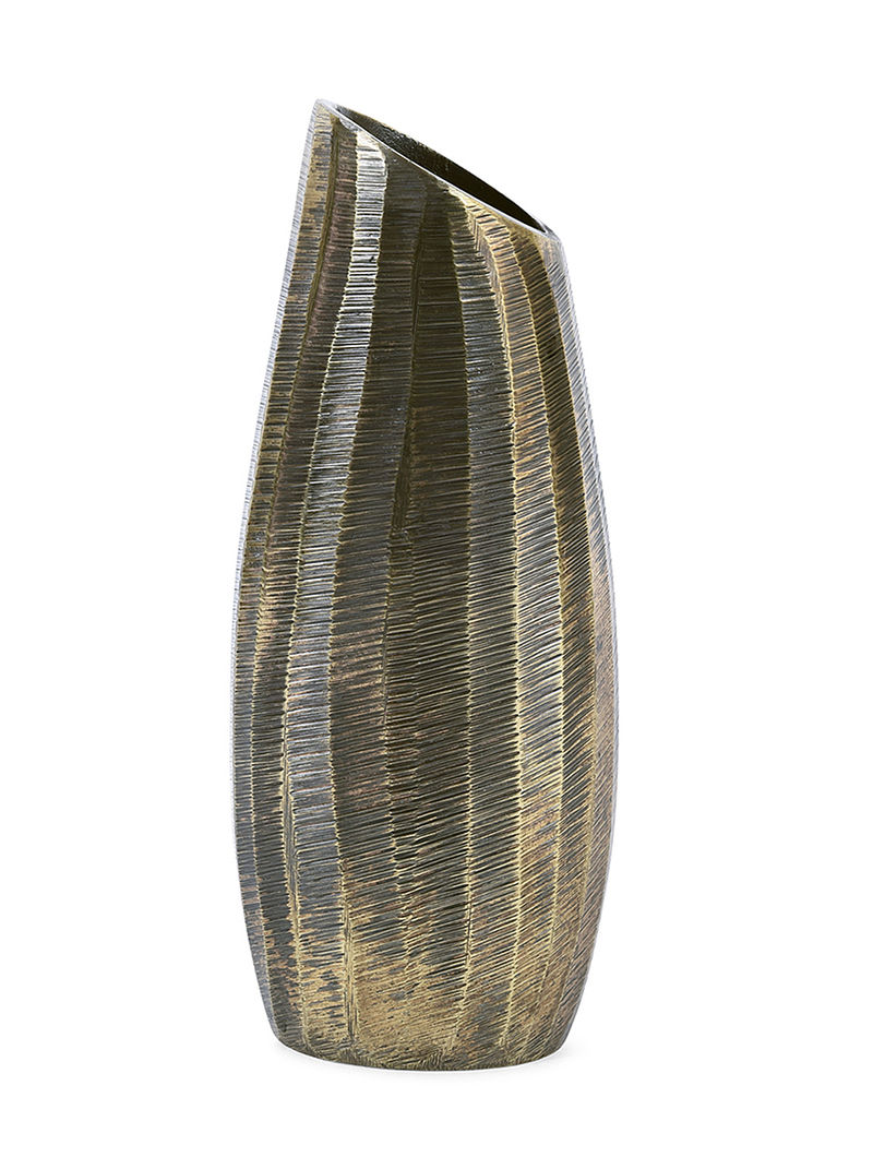 Aluminium Vase with Brass Finish (H:9.4in, Dia:2.2in, W:3.7in)
