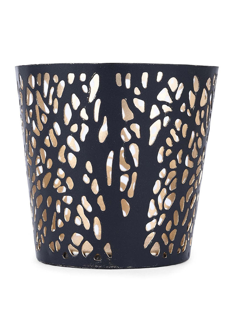 Black Iron Tea Light Holder with Branch Design (H:3.1in, Dia:3.1in)