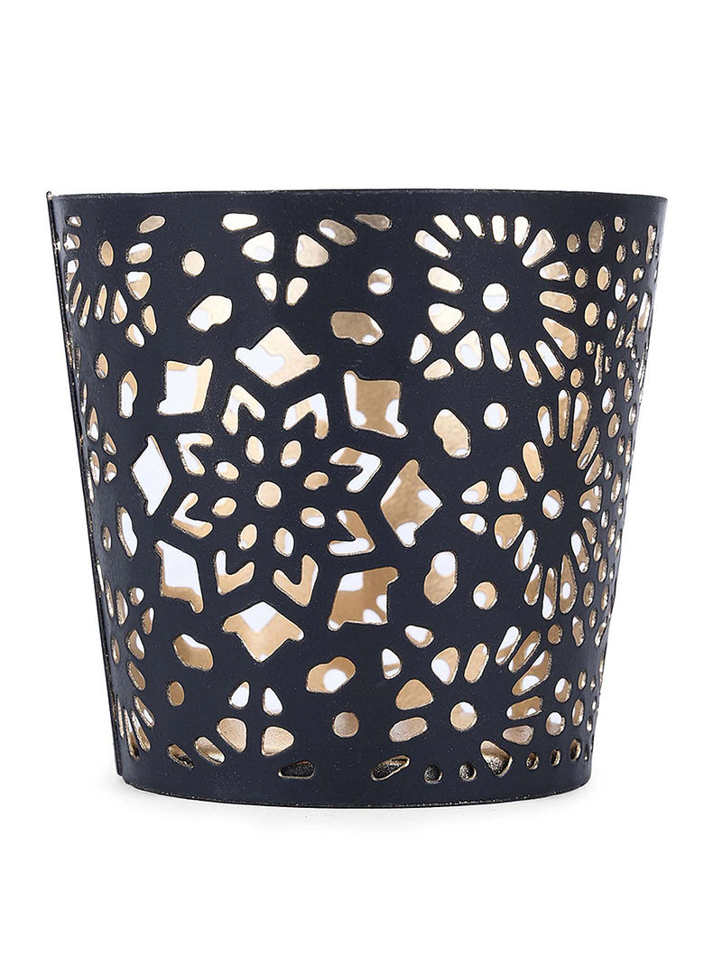 Black Iron Tea Light Holder with Damask Design (H:3.1in, Dia:3.1in)