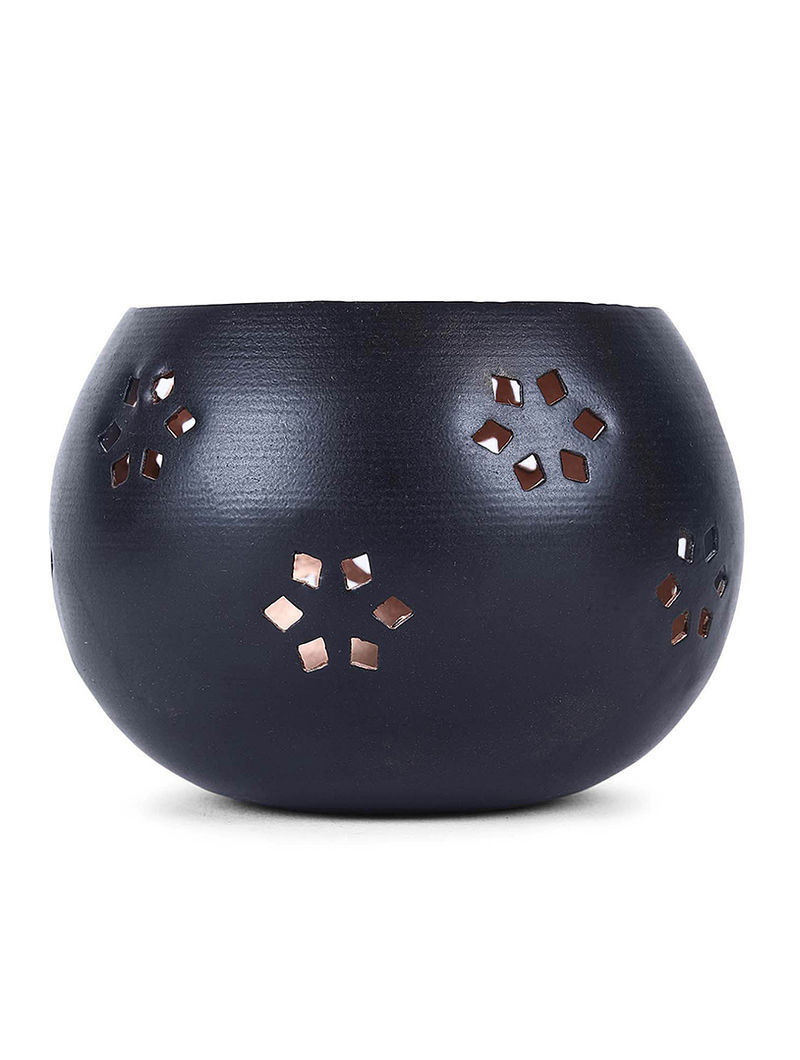 Black Iron Tea Light Holder with Damask Design (H:2.8in, Dia:3.1in)