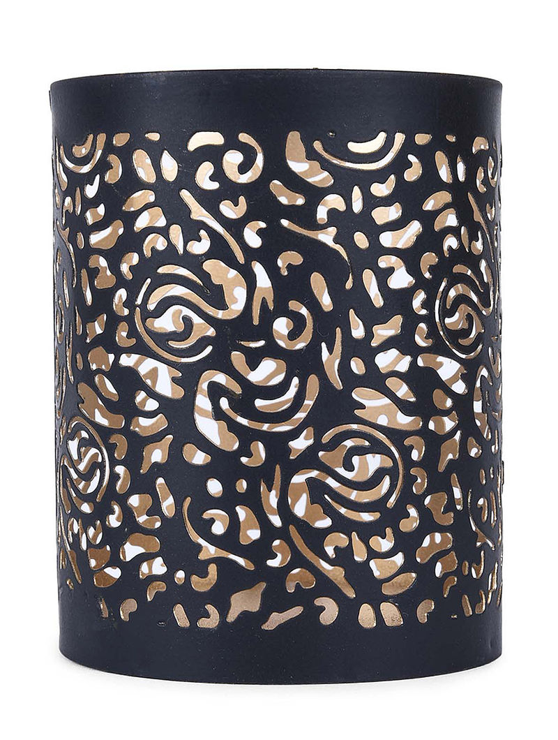 Black-Golden Iron Tea Light Holder with Powder Coated Finish (H:3.9in, Dia:3.1in)