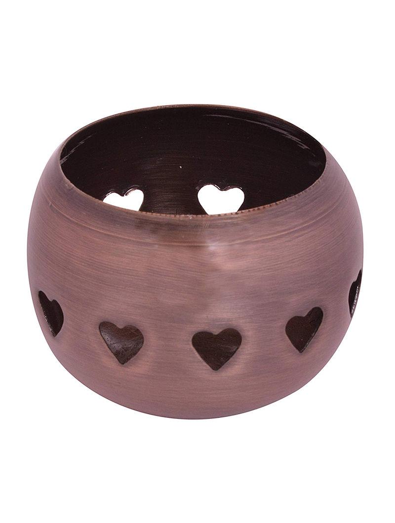 Copper Metal Tealight Holder in Heart Design (H:2.8in, Dia:3.1in)
