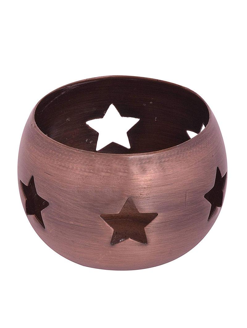Copper Metal Tealight Holder in Star Design (H:2.8in, Dia:3.1in)