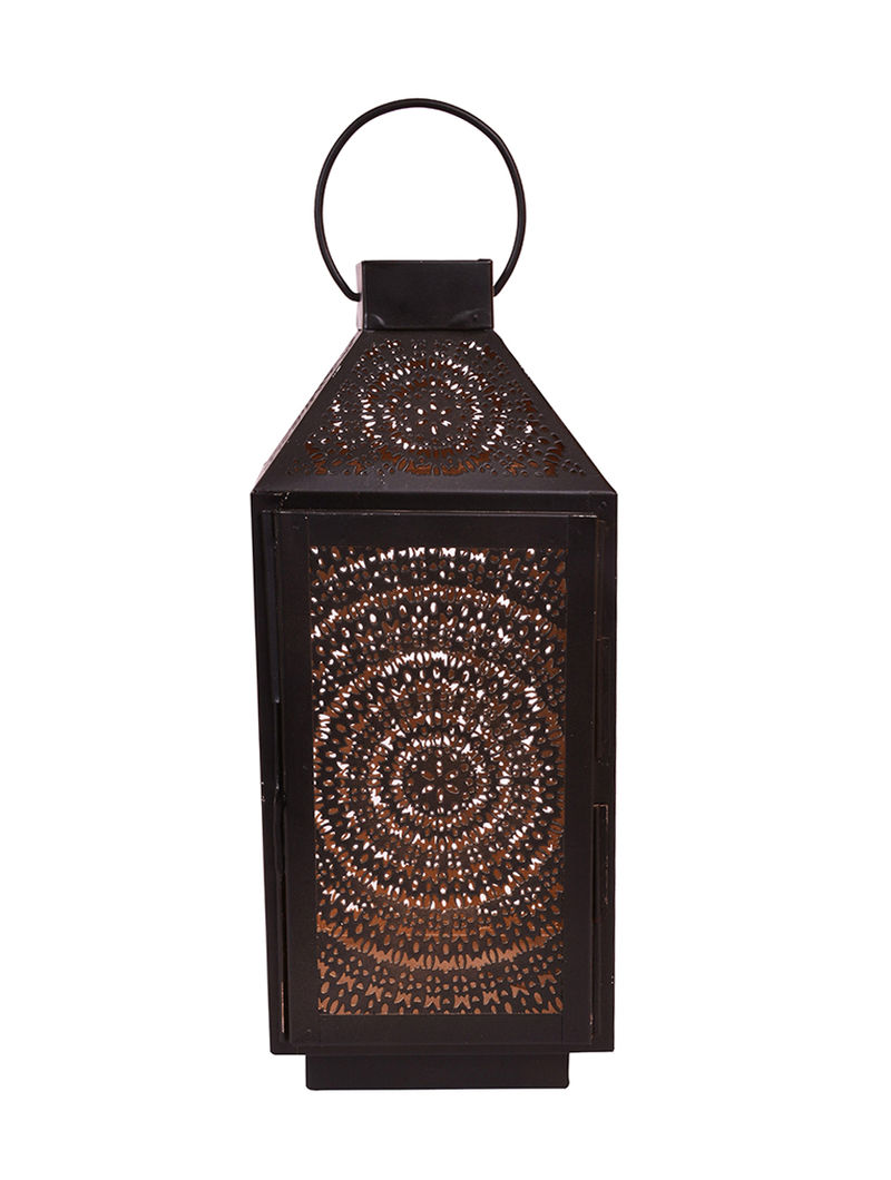 Black Iron Lantern with Powder Coated Finish (H:11.6in, Dia:4.7in)