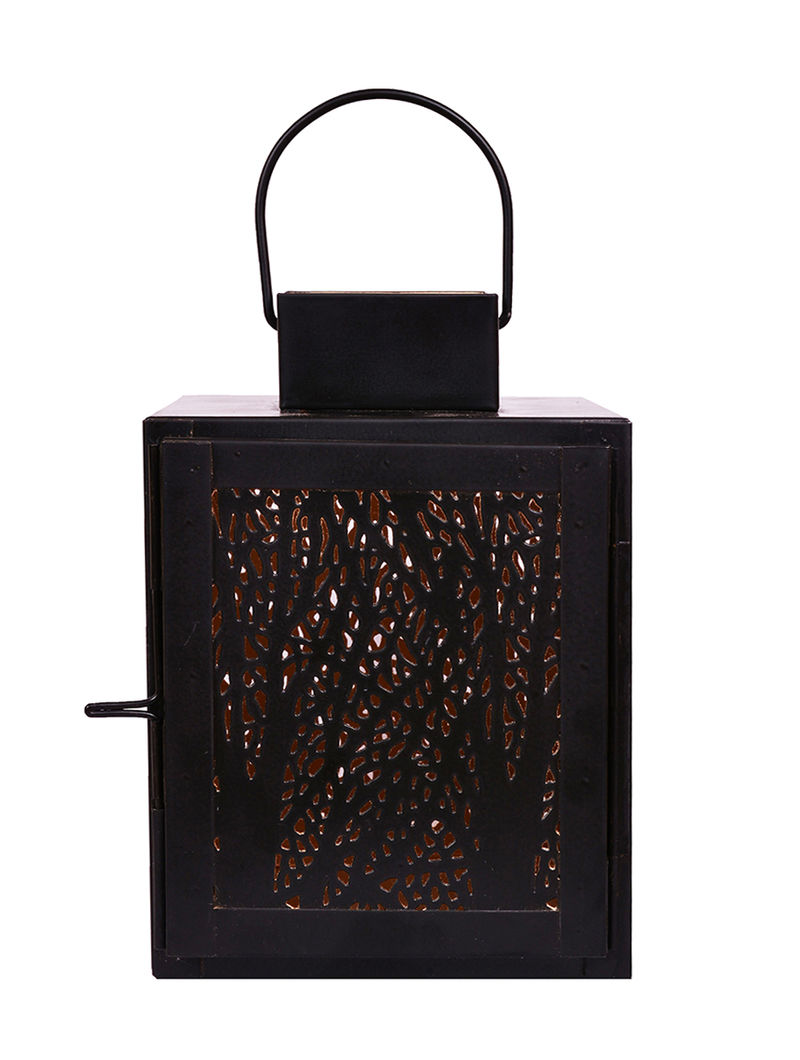 Black Iron Lantern with Powder Coated Finish (H:7.5in, Dia:5.9in)