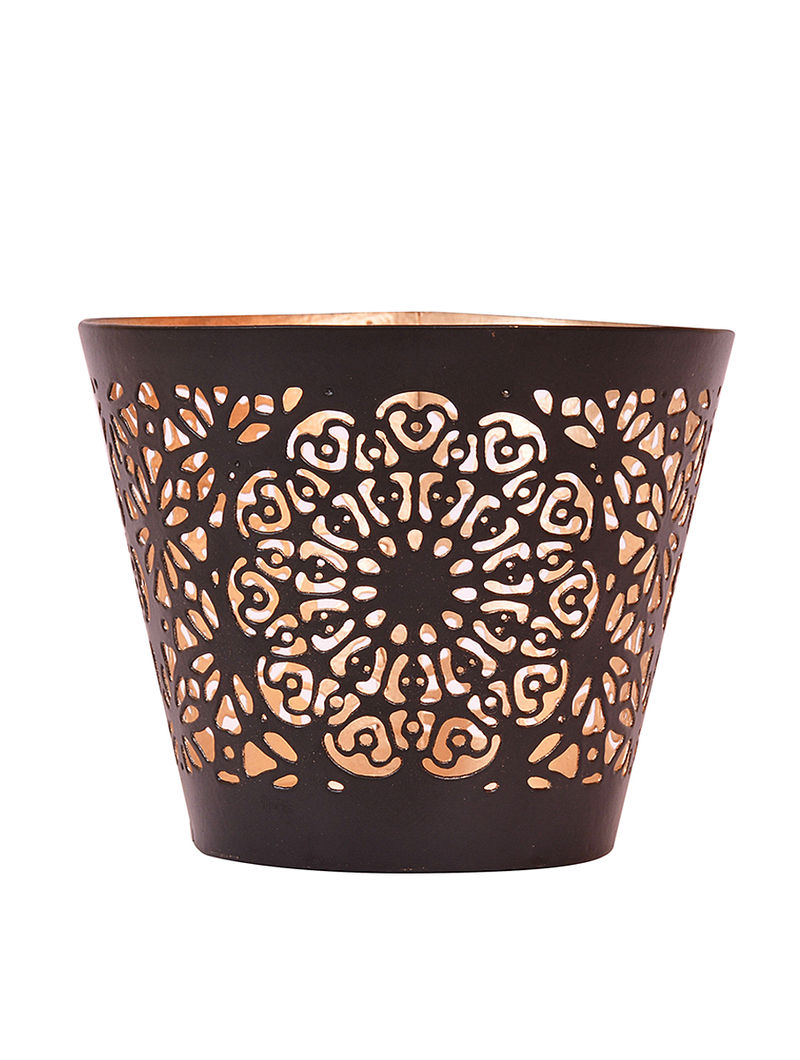Black Iron T Light Holder with Powder Coated Finish (H:2.8in, Dia:3.1in)