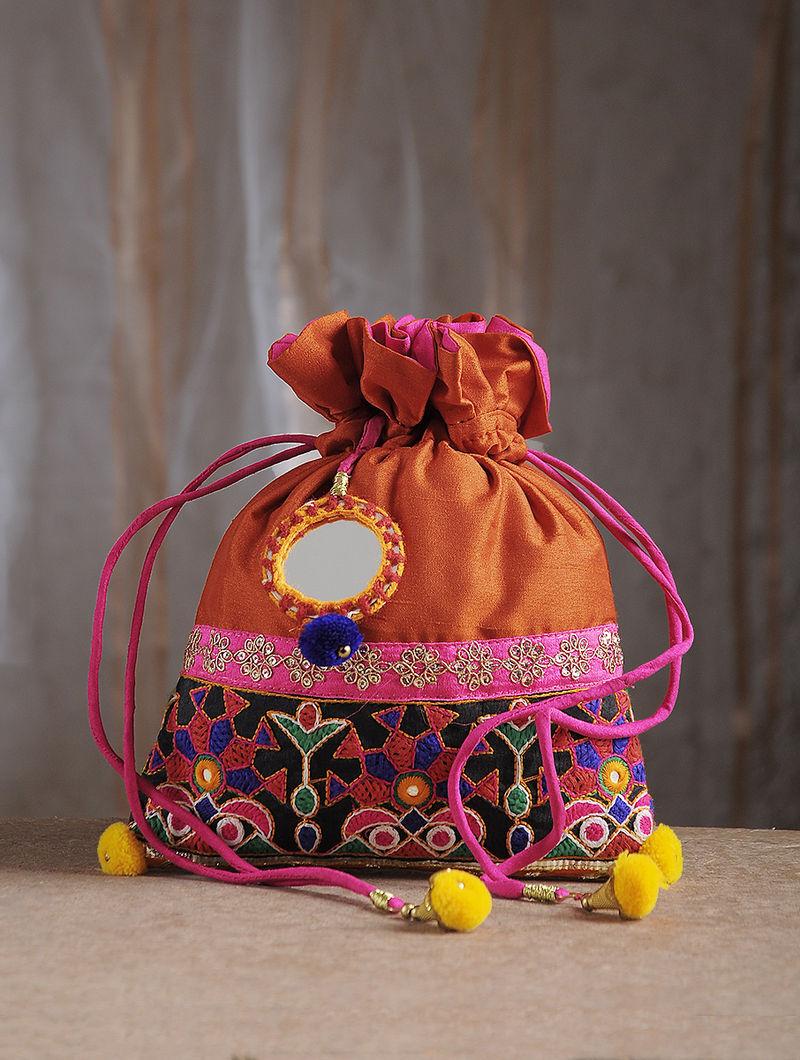 Orange Hand-Embroidered Chroma Silk Potli with Mirror Embellishments and Tassels