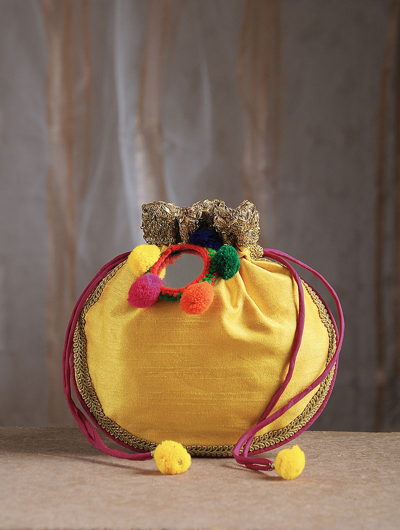 Yellow Handcrafted Chroma Silk Potli with Mirror Embellishments and Tassels