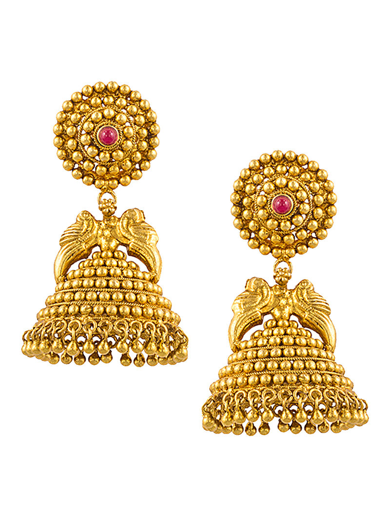 Ruby Gold-plated Silver Jhumkis with Peacock Design