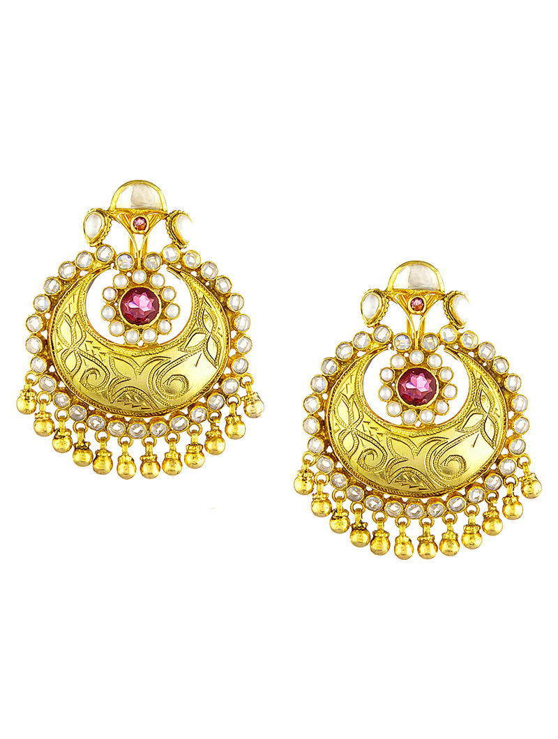 Onyx Gold-plated Silver Earrings with Pearls