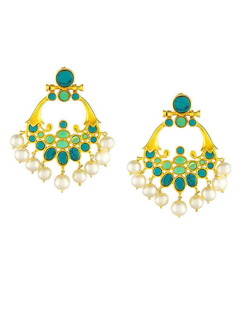 Turquoise-Green Gold-plated Silver Earrings with Pearls