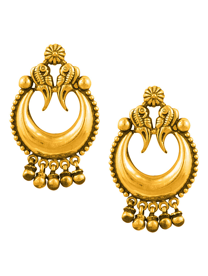Gold-plated Silver Earrings with Peacock Design