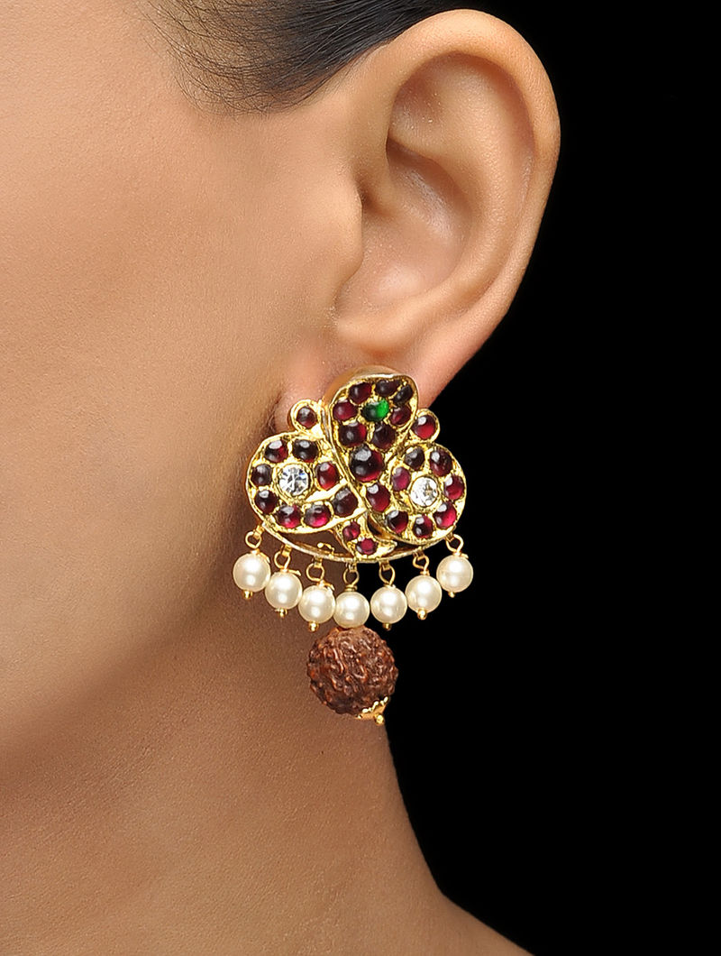 Red-Green Gold-plated Silver Earrings with Rudraksh