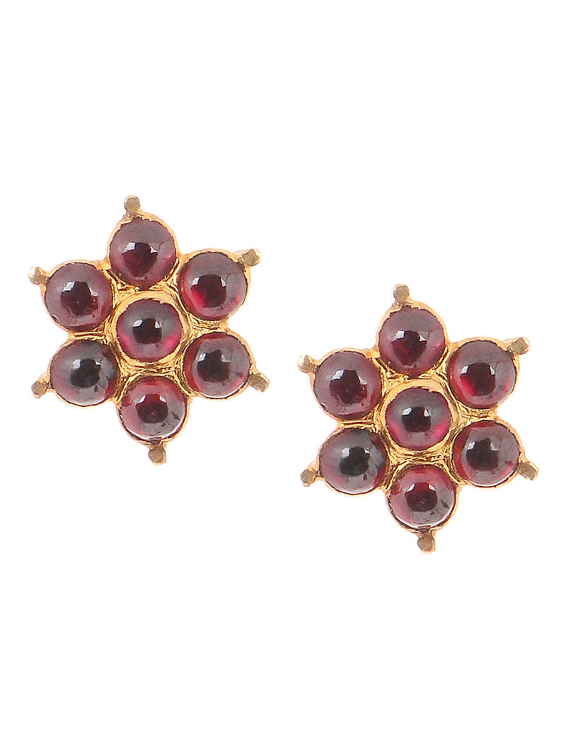 Red Gold-plated Silver Earrings with Floral Design