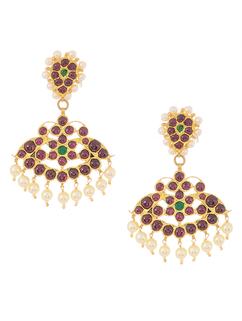 Pink Gold-plated Silver Earrings with Pearls