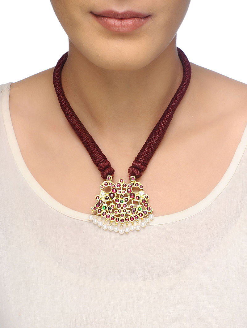 Pink-Green Gold-plated Silver Thread Necklace