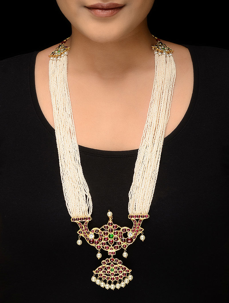 Pink-Green Pearl Beaded Gold-plated Silver Necklace