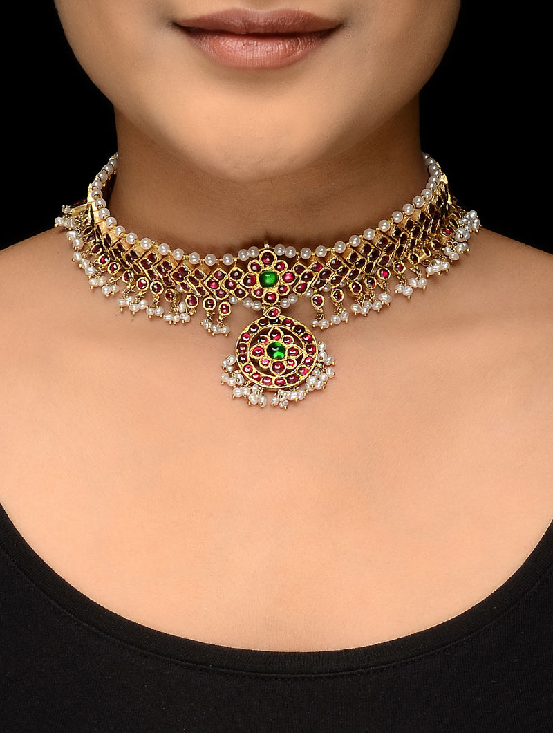Pink-Green Gold-plated Silver Necklace