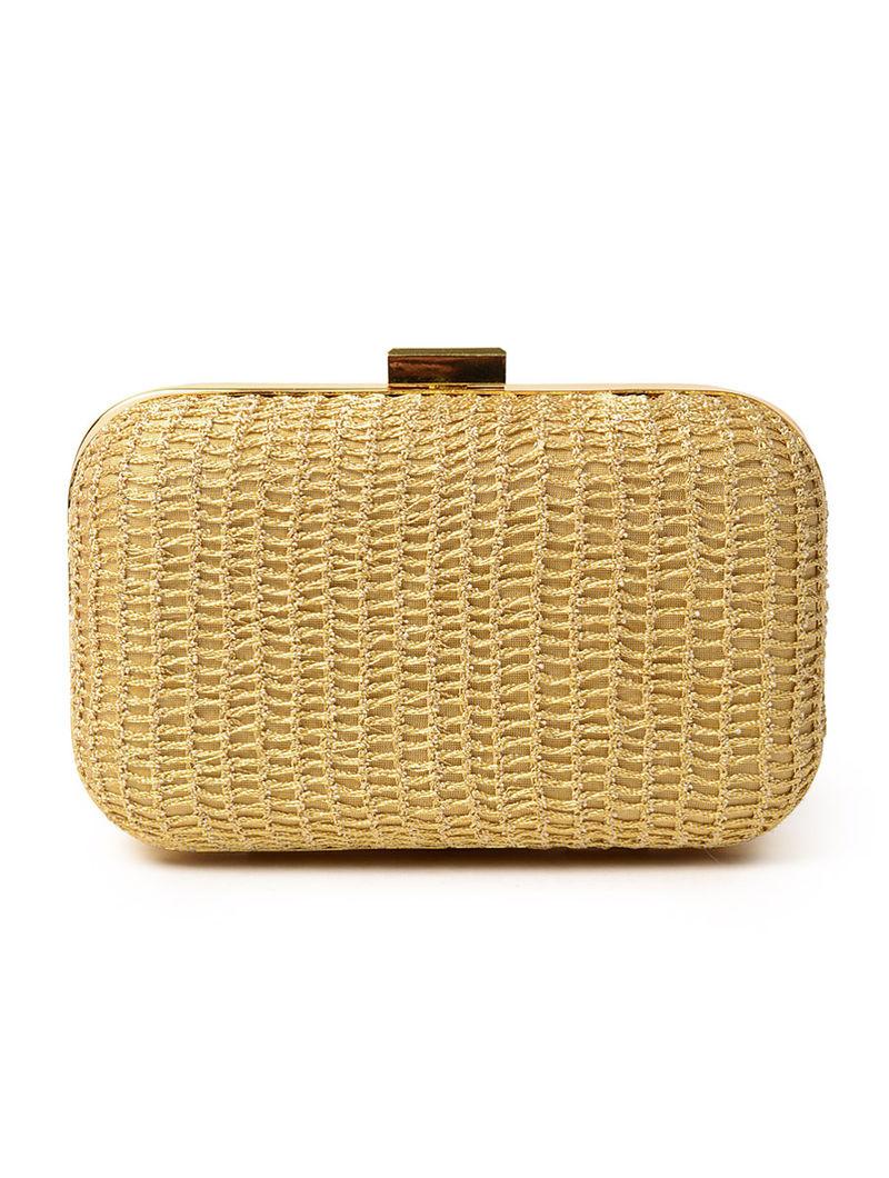 Golden Classic Crochet Box Clutch