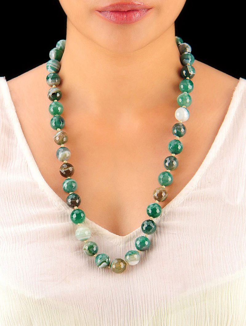 Shaded Green Hand Beaded Necklace