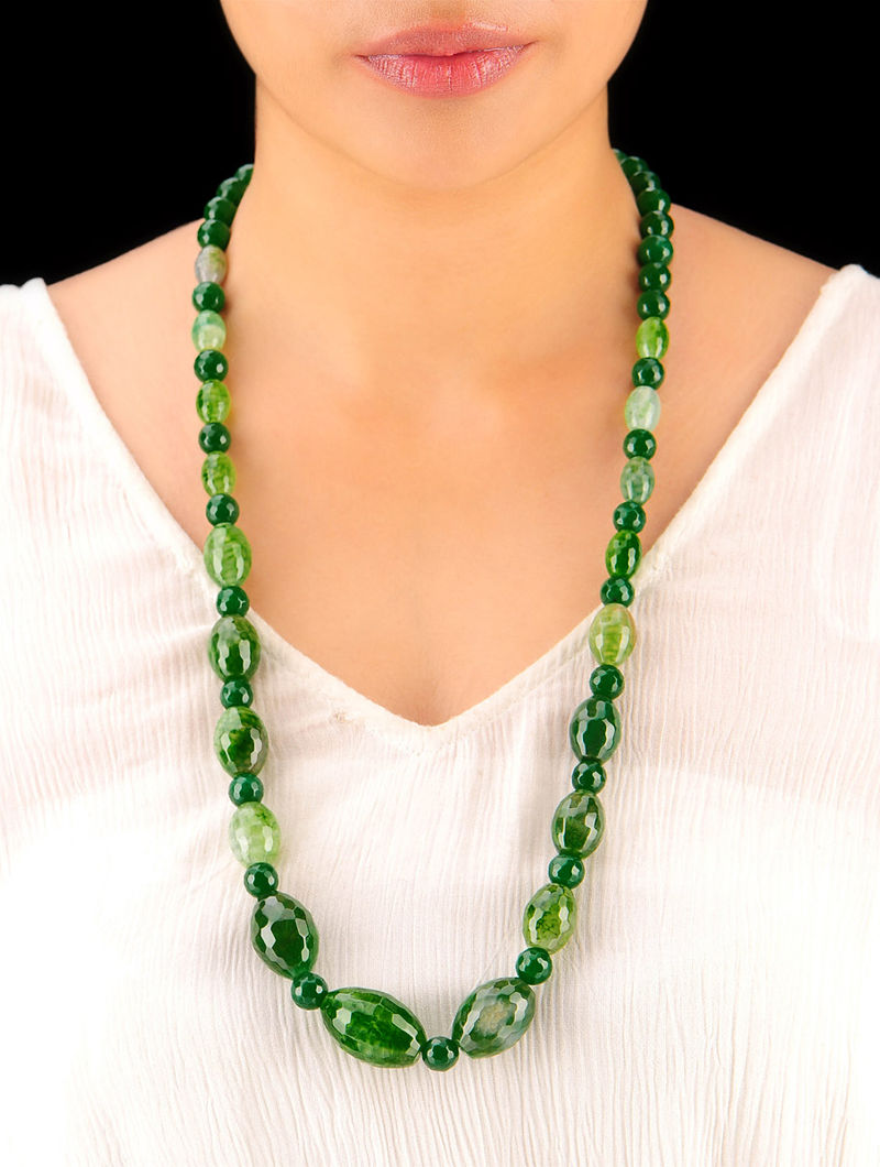 Shaded Leaf -Green Hand Beaded Necklace