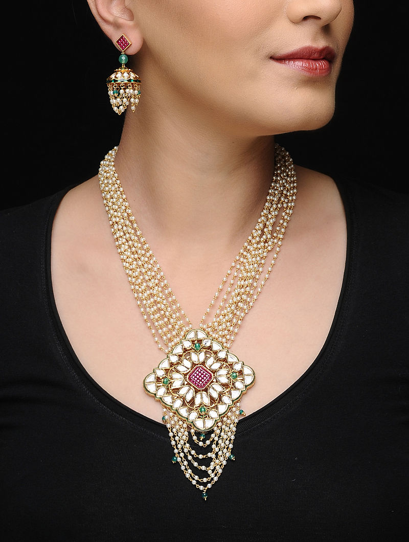 Green-Purple Kundan-Inspired Gold-plated Pearl Necklace with a Pair of Earrings (Set of 2)