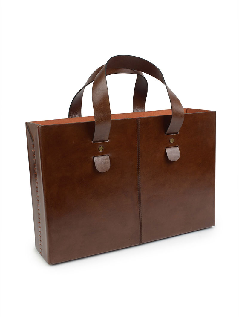 Brown Saddle Tote by Anantaya 11in x 16in x 4.3in