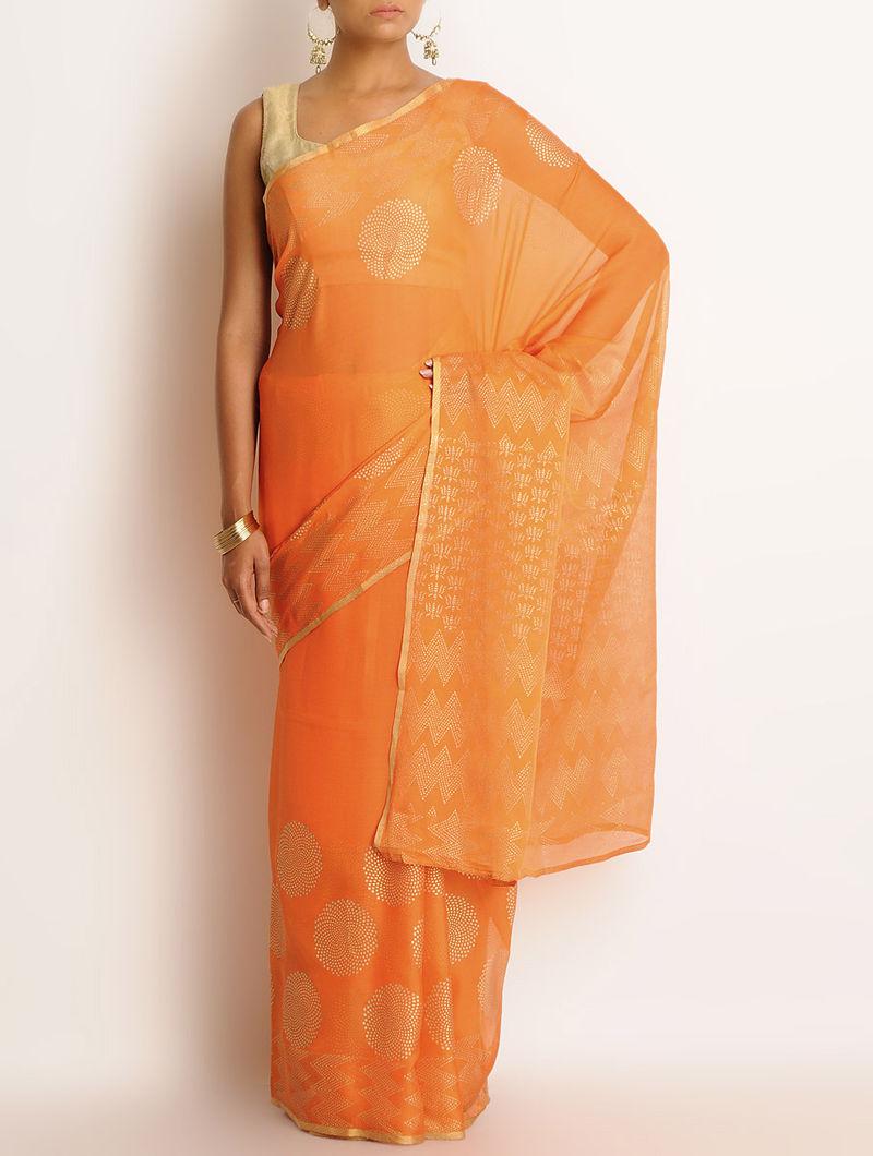 Orange Chiffon Khari Block Printed Saree