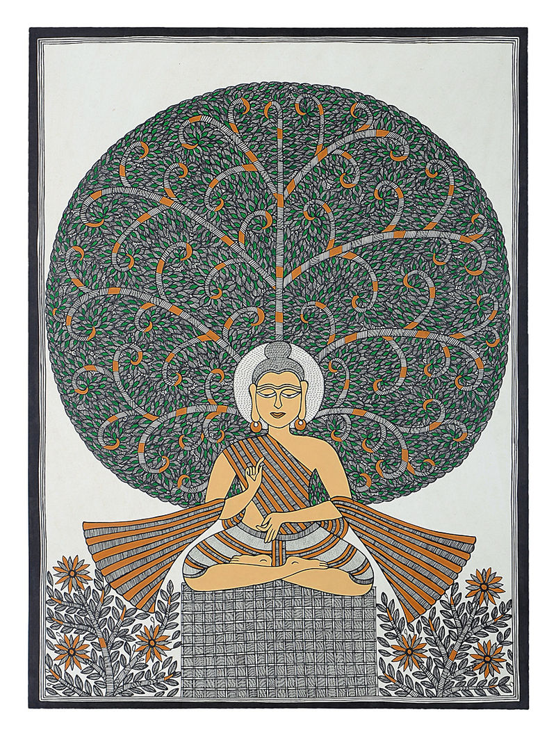 Tree of Life and Lord Buddha Madhubani Painting