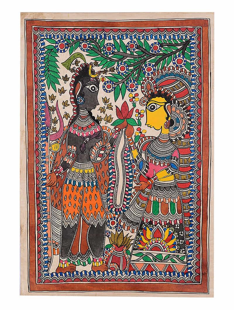 e02bfac0575d7 Shiva-Parvati Madhubani Painting - 22.1in x 15in