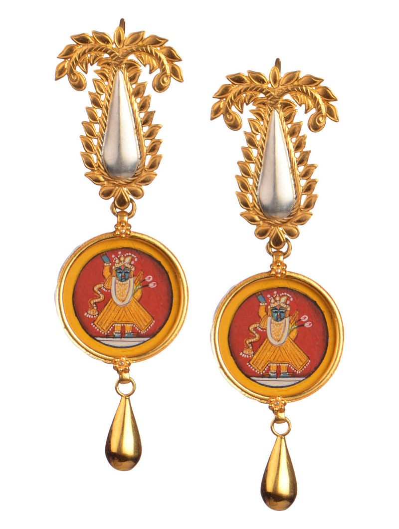 Pair of Lord Krishna Silver Earrings