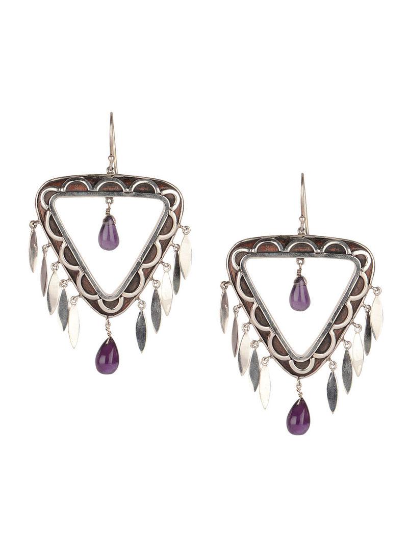 Triangle Wood Silver Earrings