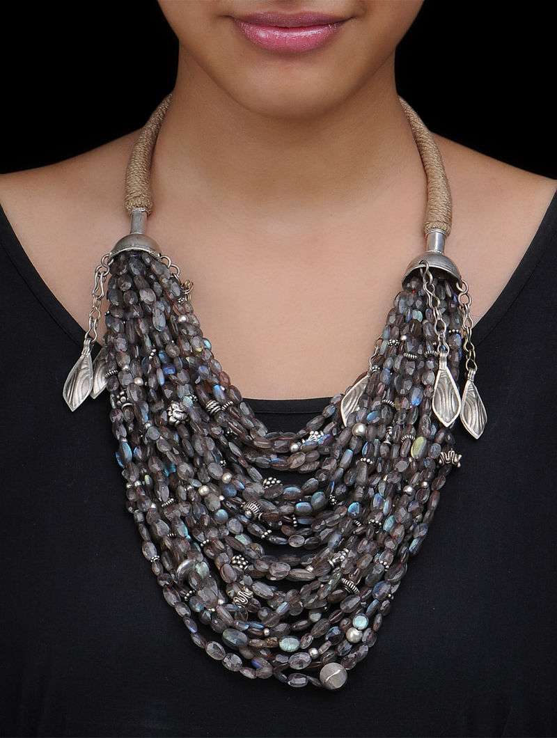 and Shell Freedom Wings Leather Sterling Silver Necklace with Labradorite