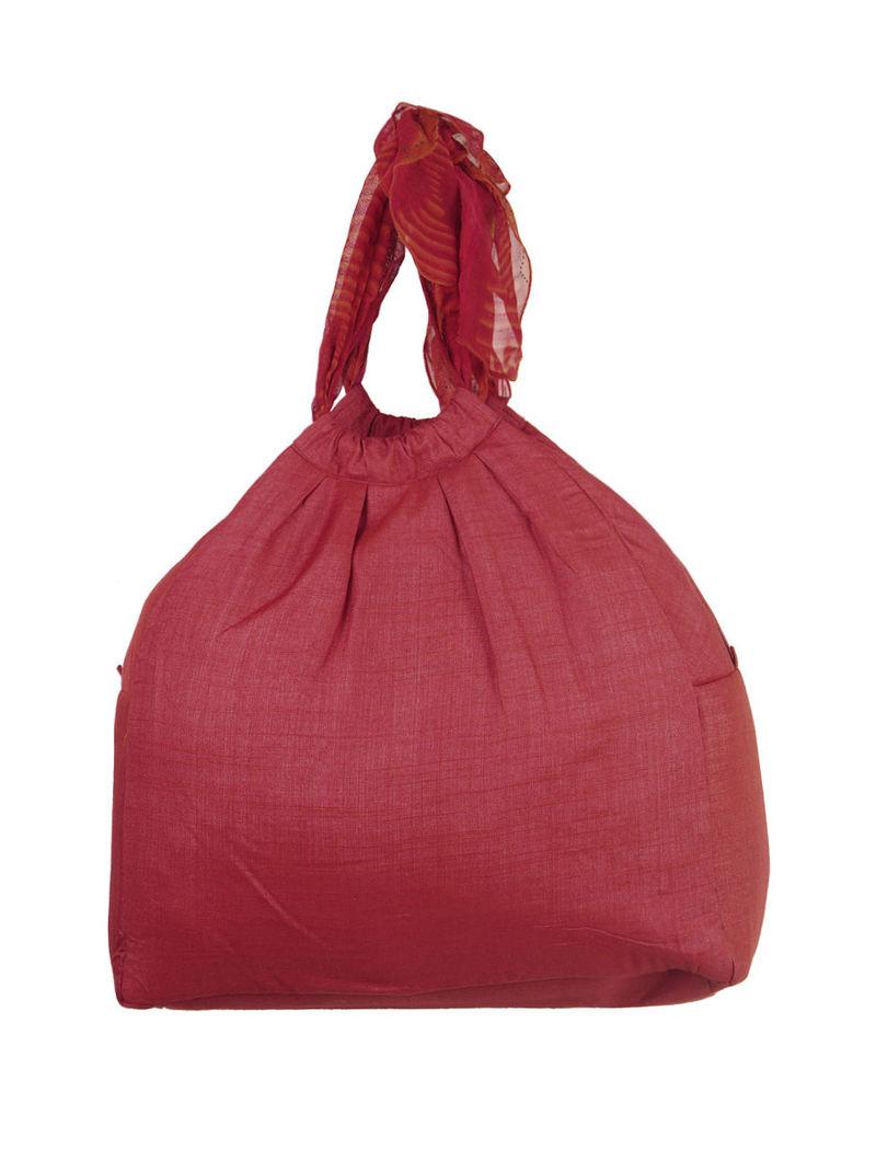 Maroon Scarf Handle Bag